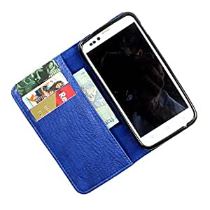 i-KitPit PU Leather Wallet Flip Case Cover For Sony Xperia U (Blue)