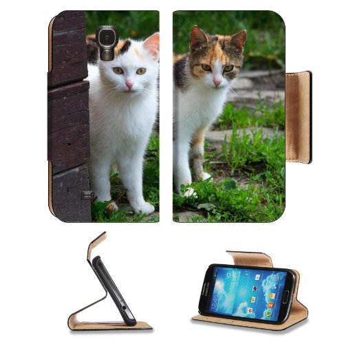 Two Young Cats Creeping Around Corner Samsung Galaxy S4 Flip Cover Case With Card Holder Customized Made To Order Support Ready Premium Deluxe Pu Leather 5 1/2 Inch (140Mm) X 3 1/4 Inch (80Mm) X 9/16 Inch (14Mm) Msd S Iv S 4 Professional Cases Accessories front-1029370