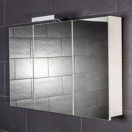 Galdem - Armario con espejos para baño (100 cm, 3 puertas, con lámpara halógena, función de cierre suave)