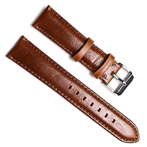 Green Olive 18mm Handmade Vintage Replacement Leather Watch Strap/Watch Band (Oil Wax Leather/Brown) (18mm Omega Strap compare prices)