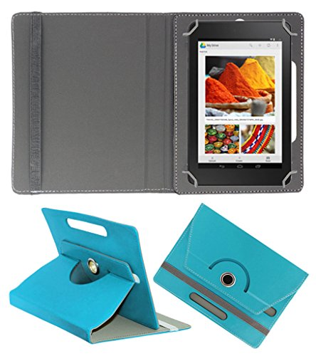 Acm Rotating 360° Leather Flip Case For Dell Venue Cellular 7 Tablet Cover Stand Greenish Blue  available at amazon for Rs.149