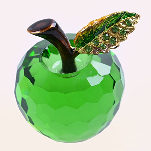 LONG SHENG 40mm (1.6 inch) Crystal Apple Figurine Paperweight Green