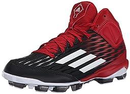 adidas Performance Poweralley 3 TPU Mid J Baseball Shoe (Little Kid/Big Kid), Black/White/Power Red, 2 M US Little Kid