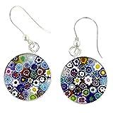 Murano Glass Millefiori Round Dangle Earrings - Silver