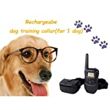 Remote Control Dog Training Transmitter & Rechargeable Collar , 100 Level Shock and Vibration