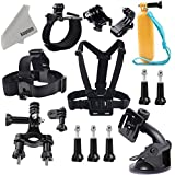 Kupton GoPro Accessories Set Kit Include Head Strap + Chest Belt Harness + Yellow Handle Grip + Wrist Strap +...