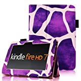 Fintie (Giraffe Purple) Slim Fit Leather Case Cover Auto Sleep/Wake for Kindle Fire HD 7&quot; Tablet (will only fit Kindle Fire HD 7&quot;)