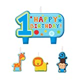 Amscan One Wild Boy 1st Birthday Candle Set, Medium, Blue