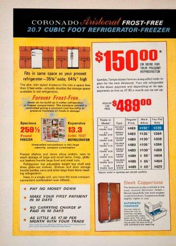 1966 Ad Coronado Aristocrat Freezer Refrigerator Gambles Tempo Kitchen Appliance - Original Print Ad (Freezer Lable compare prices)
