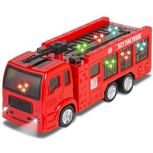 Kids Toy Fire Truck Electric Flashing Lights and Siren Sound, Bump and Go Action (Fire Truck Bed Tent compare prices)
