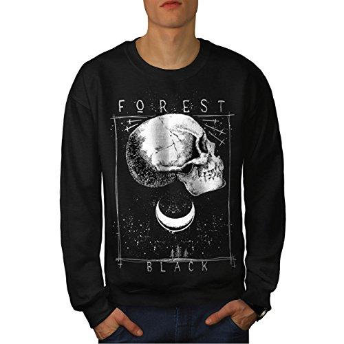 Forest Black Skull Moon Light Men NEW Black L Sweatshirt | Wellcoda (The Supernatural Strange Cults compare prices)