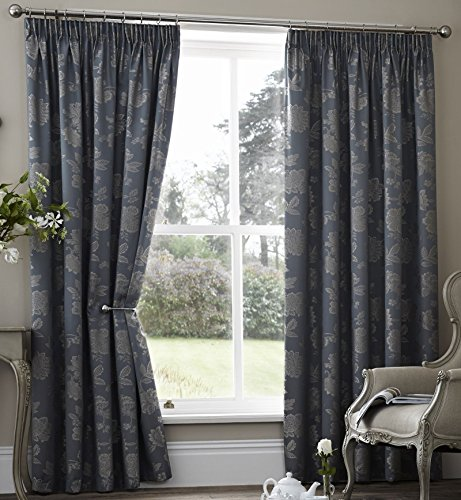 alamo-floral-lined-curtains-46-x-72-teal-dark-blue-grey-jaquard-flowers-leaves-pair-of-ready-made-pe
