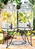 Home Essentials 1842 Del Sol Hammered Jug Beverage Dispenser With Rack, Set Of 2