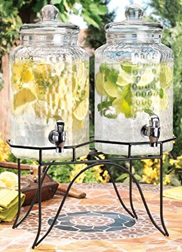 Home Essentials 1842 Del Sol Hammered Jug Beverage Dispenser With Rack, Set Of 2 (Drink Dispenser Set Of Two compare prices)
