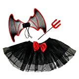 Girls 4-14 Red Black Halloween Devil Witch TUTU WINGS FORK Fancy Dress Costume [4-8 YEARS BLACK]