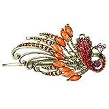Skyllc® Clip Moda bronce de la vendimia cristalina roja del pavo real del pelo