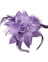 Hair Bows ~ Versatile Function Dotted Silk Flower Clip Bow with Feathers ~ Assorted Colors