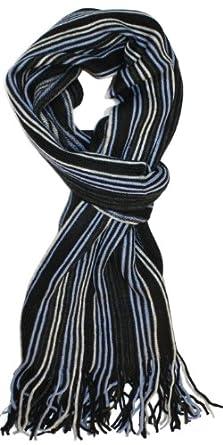 SethRoberts-Masculine Multi-Stripe, Long, Soft Men's Knit Winter Scarf Black, Light Blue