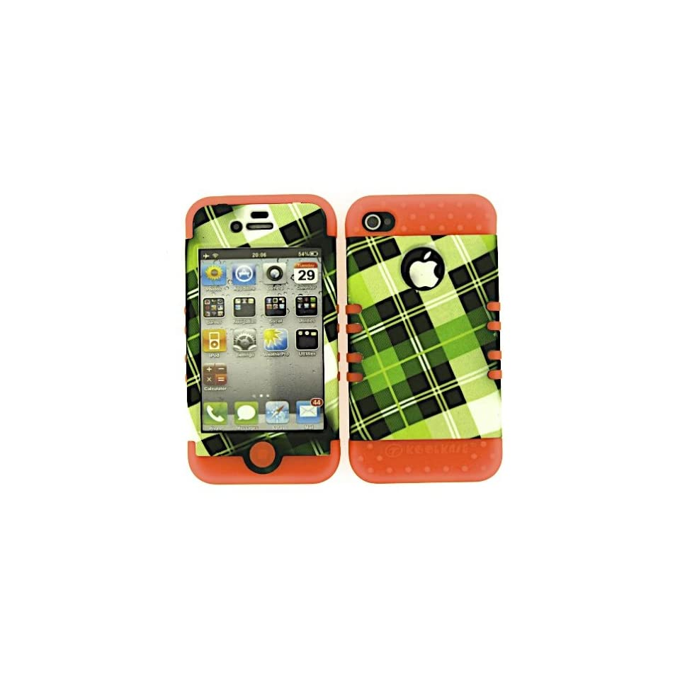 SHOCKPROOF HYBRID CELL PHONE COVER PROTECTOR FACEPLATE HARD CASE AND ORANGE SKIN WITH MINI STYLUS PEN. KOOL KASE ROCKER FOR APPLE IPHONE 4 4S PLAID OR TE294