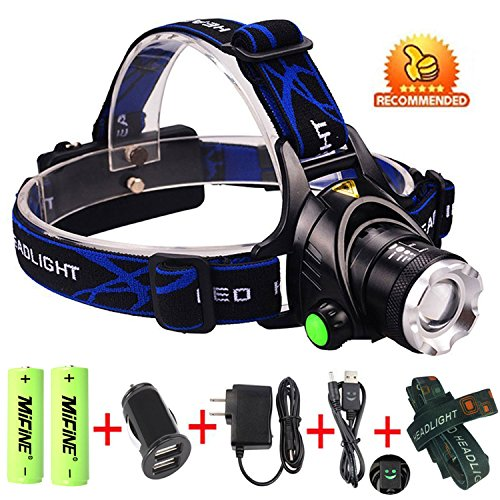 Mifine® Waterproof LED Headlamp with Zoomable 3 modes 1800 Lumens light, hands-free headlight with Rechargeable batteries for biking camping hunting running rainy weather
