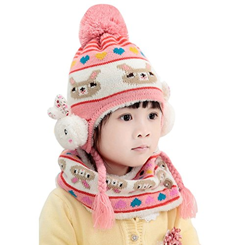 Baby Kids Cute Cartoon Knit Hat And Infinity Scarf Set - Pink