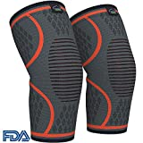 Modvel Compression Knee Sleeve (1 Pair) - Ultra Flexible, Comfortable Knee Brace for Men and Women, Great for All Athletics, Volleyball, ACL, Stabilizer for Arthritis and Knee Pain Relief, L (MV-112) (Color: Orange, Tamaño: Large (18.6