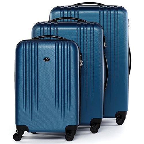 FERGÉ Set di tre valigie MARSIGLIA - bagaglio rigide duro da 3 - tre pz. valigie con 4 ruote (360) pelle blu