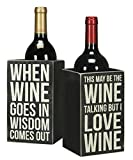 Primitives By Kathy Single Wine Bottle Holder - Whimsical Wine Box Sign