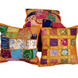 Little India Hand Embroidery Patch Work Cotton 5 Piece Cushion Cover - Multicolor (DLI3CUS402)