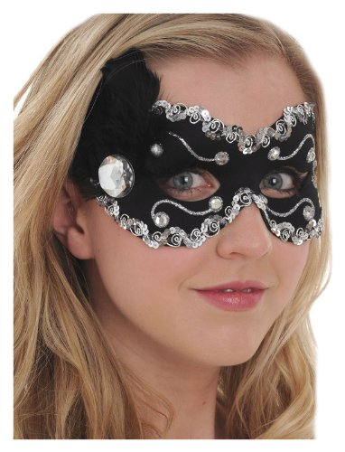 Black Fabric Mask Silver Sequins Rhinestones Feathers Mardi Gras Carnevale Women