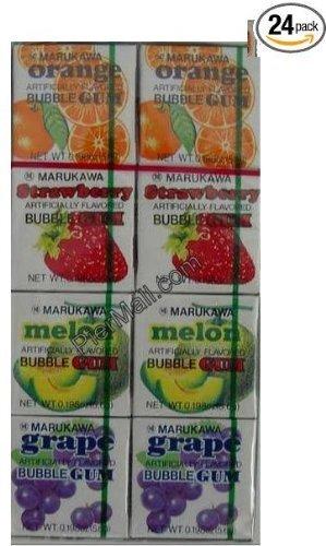 Marukawa - Eight Pack Bubble Gum Sampler - 24 Packs (Grape, Melon, Orange, Strawberry) (Grape Bazooka Bubble Gum compare prices)