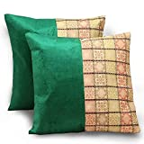 United Colors Ethnic Design 2Pc. Green Luxury Cushion Covers Set 874