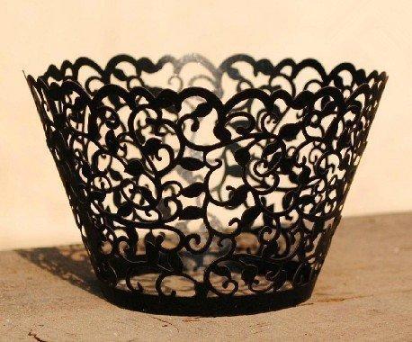 Krismile® Hot selling 120X Black Laser Cut White Flower Vine Cupcake Wrappers Wraps Wedding Birthday Tea Party Decorations