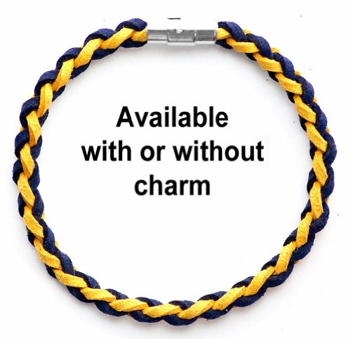 Braided Faux Suede Unisex Music & Band Bracelet (Team Colors Navy Blue & Gold)-Without Charm-X-Large