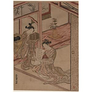 Poster of Japanese Artwork: Two girls in an interior, one seated reading a scroll, the other standing up looking into an insect cage (24 x 32 inches)