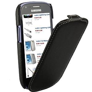 xubix Ledertasche Samsung Galaxy S3 Mini GT-i8190 i8190 Flipcase Tasche Leder Schutzhülle Hülle - maßgefertigt - Flip Case in schwarz