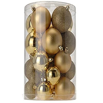 A Selection of Gold Matt,Shiny & Glitter Christmas Baubles Approx 40 Baubles
