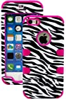 myLife (TM) Rose Pink and Black - Zebra Stripes Series (Neo Hypergrip Flex Gel) 3 Piece Case for iPhone 5/5S (5G) 5th Generation iTouch Smartphone by Apple (External 2 Piece Fitted On Hard Rubberized Plates + Internal Soft Silicone Easy Grip Bumper Gel)
