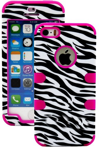 "myLife (TM) Rose Pink and Black - Zebra Stripes Series (Neo Hypergrip Flex Gel) 3 Piece Case for iPhone 5/5S (5G) 5th Generation iTouch Smartphone by Apple (External 2 Piece Fitted On Hard Rubberized Plates + Internal Soft Silicone Easy Grip Bumper Gel + Lifetime Warranty + Sealed Inside myLife Authorized Packaging) ""Attention: This case comes grip easy smooth silicone that slides in to your  at Amazon.com"