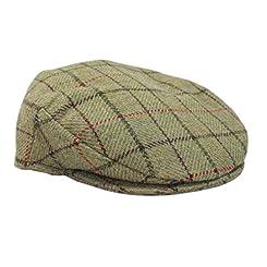 Irish Cap Green & Burgundy Plaid Tweed Irish Made