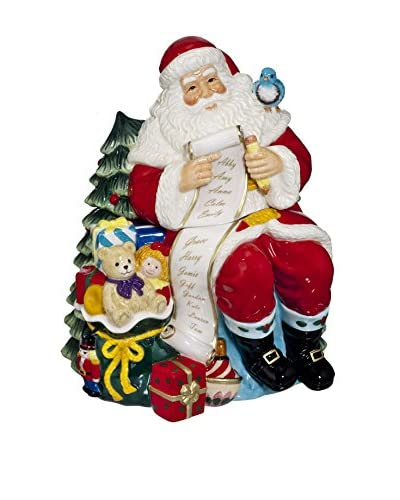 Waterford Ceramic Cookie Jar Santa With List, Multi