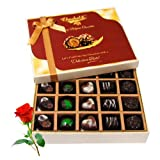 Valentine Chocholik's Belgium Chocolates - Best Sesame Of Dark And Milk Chocolate Box With Red Rose