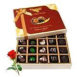 Best Sesame Of Dark And Milk Chocolate Box With Red Rose - Chocholik Belgium Chocolates