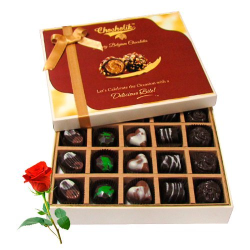 Valentine Chocholik's Belgium Chocolates - Best Sesame Of Dark And Milk Chocolate Box With Red Rose