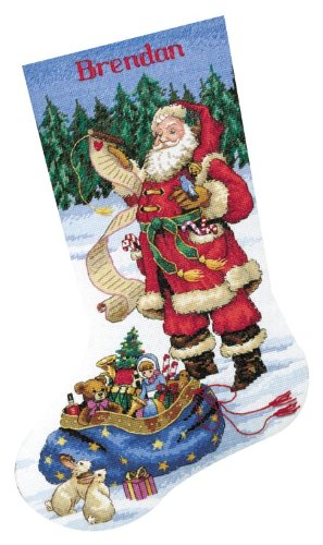 Dimensions Needlecrafts Counted Cross Stitch, Checking His List Stocking