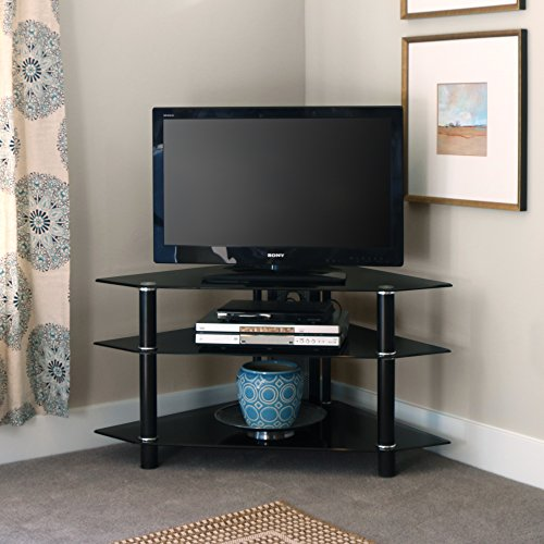 Walker Edison 44-Inch Glass and Metal Corner TV Stand, Black