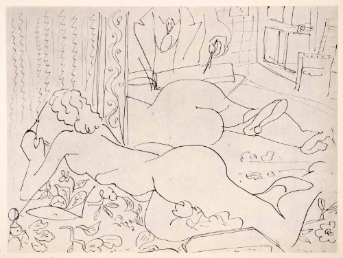 1969 Photolithograph Matisse Art Nude Lying in Front of a Mirror Woman Female - Orig. Photo-Lithograph