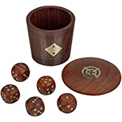 Fine Craft India Dice And Dice Game Set Of 5 With Beautiful Dice Shaker Box MN-wooden_dice_box_3