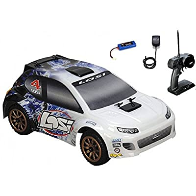 (Ship from USA) Losi 1/24 4WD Rally Car RTR Blue Spatter w/ Radio,Battery & Charger LOSB0241T3