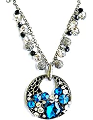 Sansar India Blue White Crystal Pearl Beaded Charm Big Pendant Long Charms Necklace Jewellery For Girls And Women